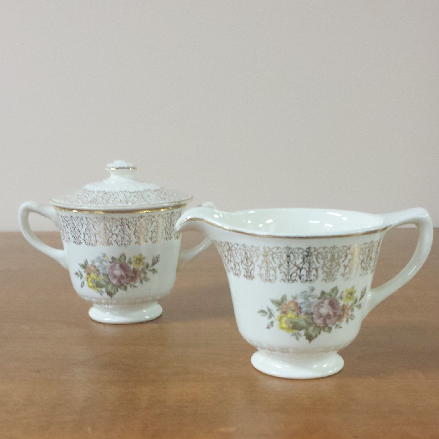 Covered Sugar Bowl u0026 Creamer ~ Monticello Dinnerware by Homer Laughlin ~ Replacement China by FeeneyFinds & Covered Sugar Bowl u0026 Creamer ~ Monticello Dinnerware by Homer ...