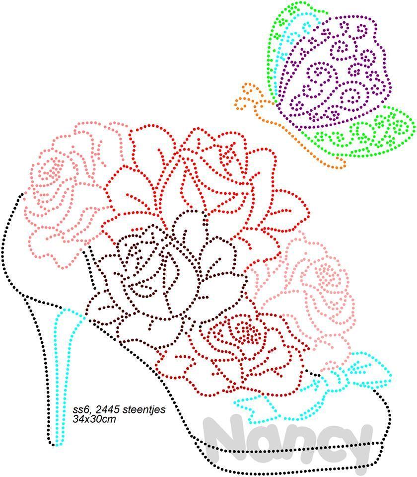 Schoen met bloemen perlen bild fadengrafik h ckeln und h keln - Fadenkunst vorlagen ...