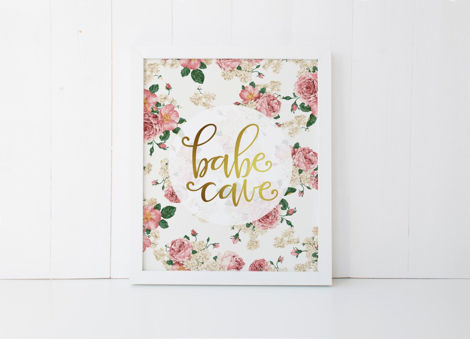 Gold Letter Wall Art Babe Cave Printable · Faux Gold Foil Art Print · Girls Room Print