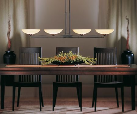 Contemporary Dining Room With Hubbardton Forge 132200 Trestle Adjustable 4 Light Pendant
