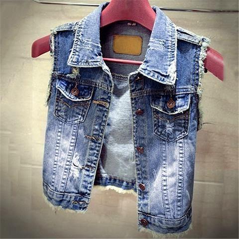 183bd8e9b Fashion Casual Lapel Jeans Vest Cotton Short Solid Femme S-L Denim ...