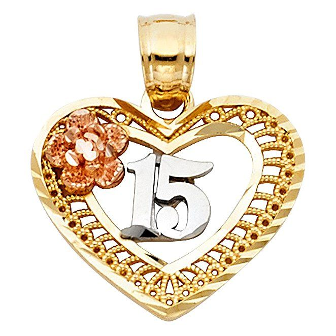 14K Tri Color Gold Sweet 15 Years Quinceanera Heart Charm Pendant For Necklace or Chain