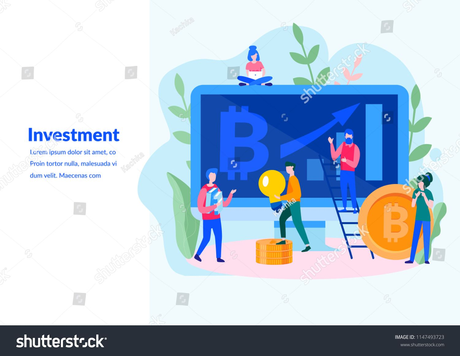 Vector Flat Illustration Data And Investment Analysis For Web Page