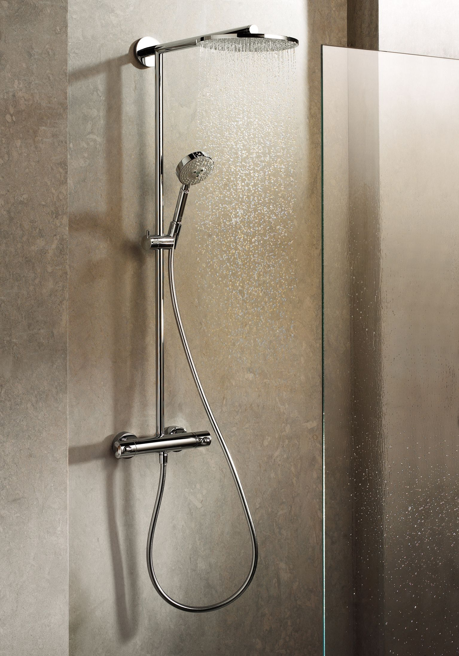 Hans Grohe Hansgrohe Shower System In A Bathroom Setting The Actual Product