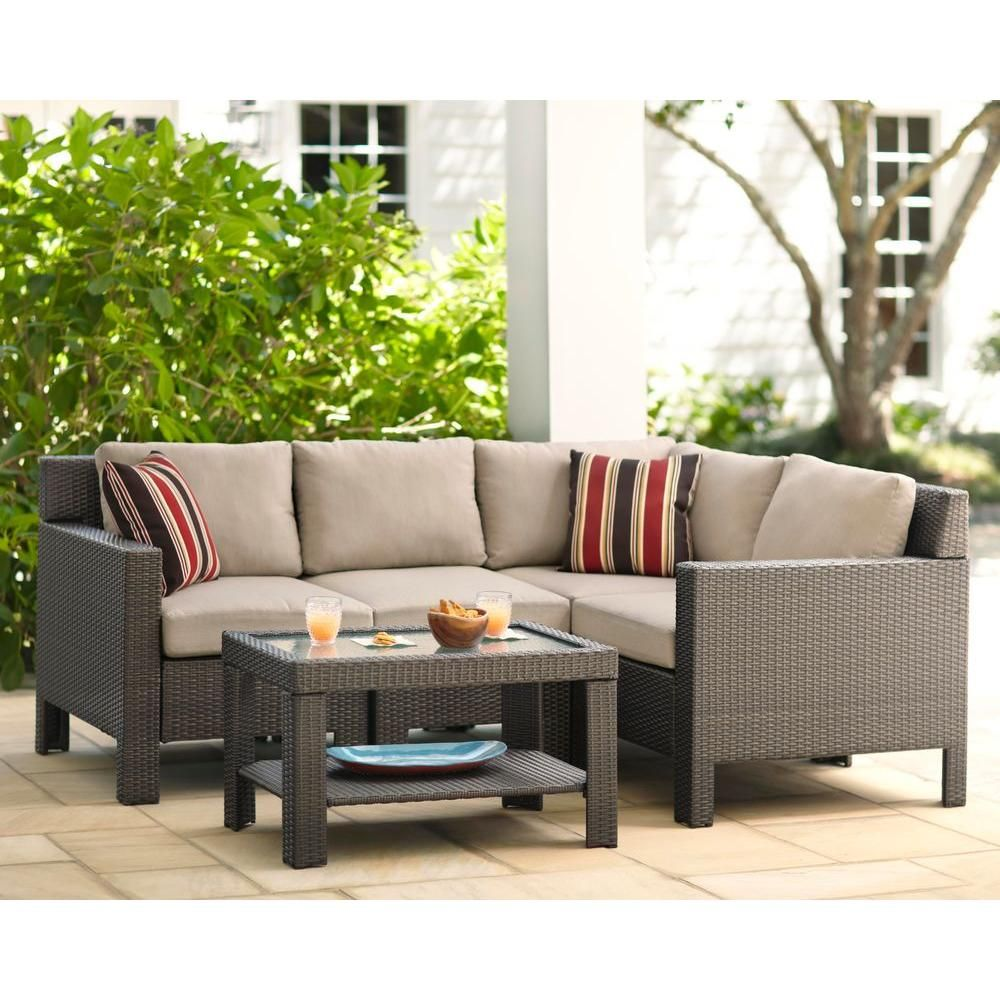 Hampton Bay Beverly 5 Piece Patio Sectional Seating Set With Beige Cushions