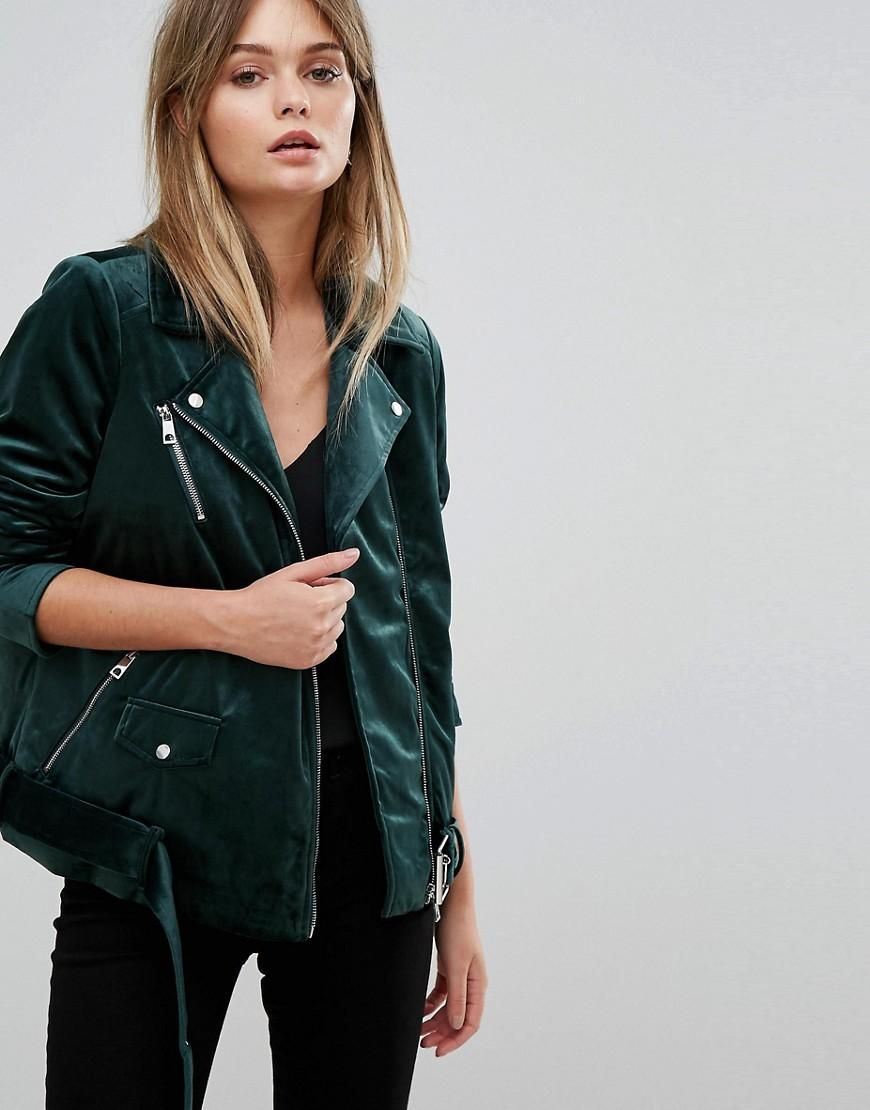 #AdoreWe #ASOS Clothing~~Outerwear~~Coats & Jackets~~Outdoor Coats &  Jackets - Vero Moda Vero Moda Velvet Biker Jacket - Green - AdoreWe.com