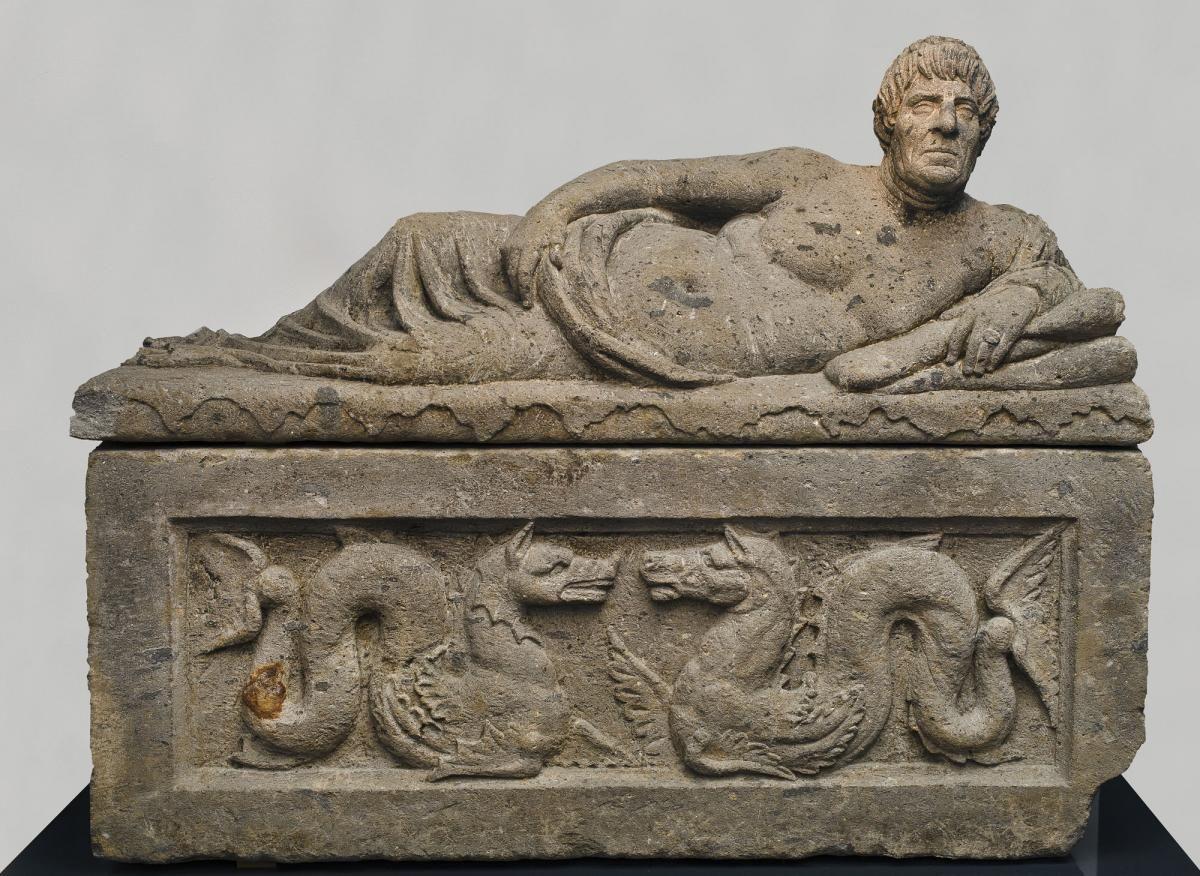Sarcophagus with reclining man | Etruscan | Glyptoteket ...