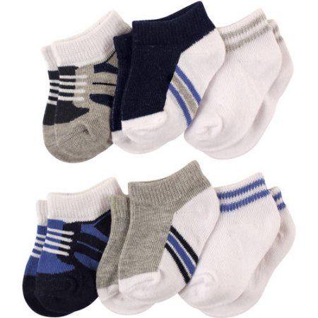 Luvable Friends Newborn Baby Boys No-Show Socks 6 Pack, Newborn Boy's, Size: 12 - 18 Months, Blue
