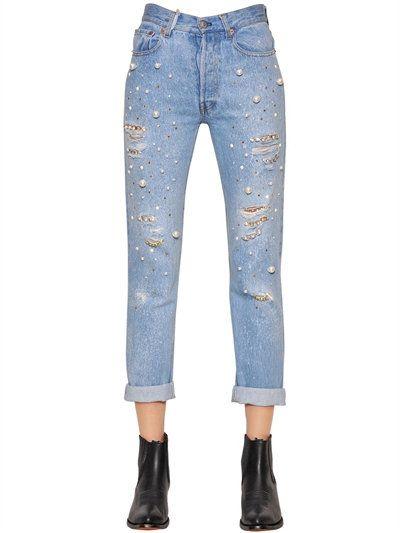 Boyfriend Jeans Denim azul adornado algodón Couture Forte nz8WHBfq