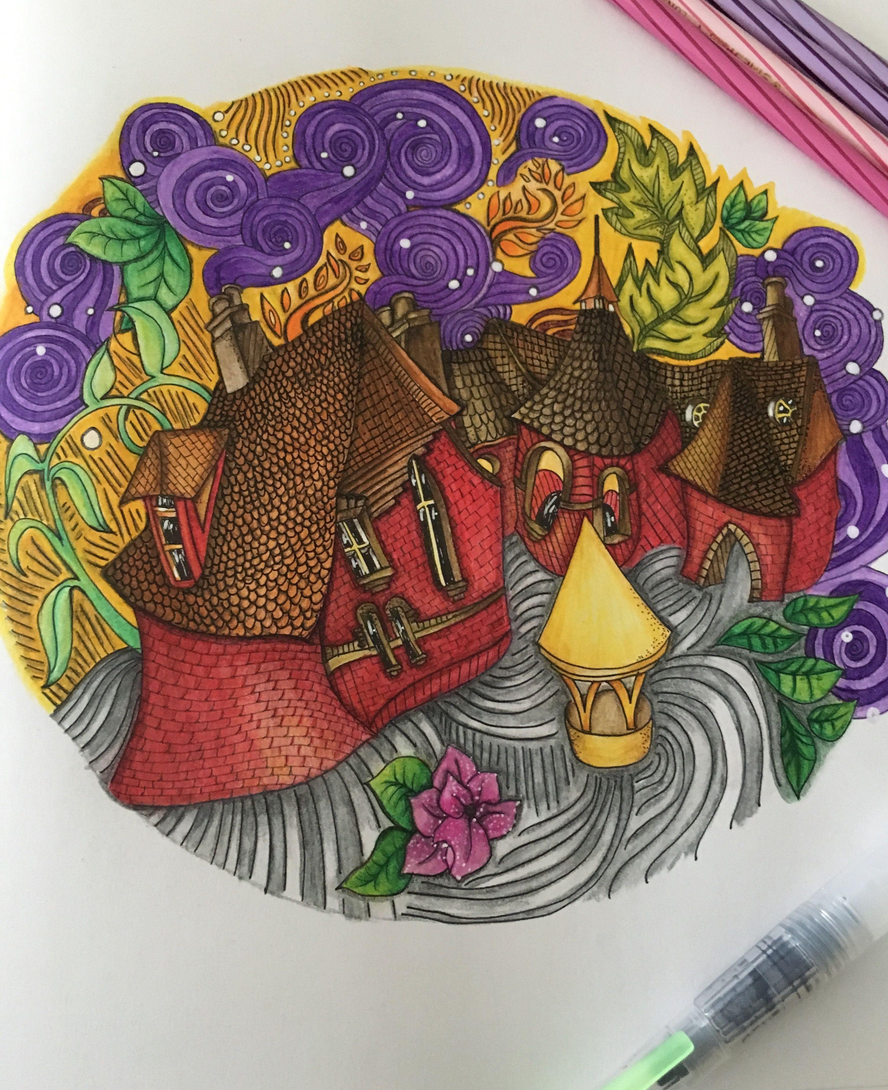 The Red House From The Magical City Colouring Book Coloured With Steadtler Luna Watercolour Pencils Libri Da Colorare Libri Da Colorare Per Adulti Colori