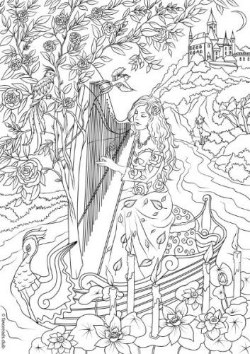 Fantasia Harp Player Coloring Page Favoreads Printable Adult