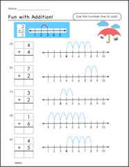 Free printable math worksheets with number lines for special ...