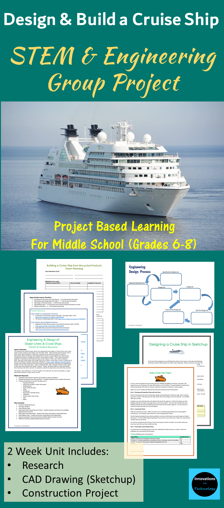 This Project Lets Middle School Students Learn About The Engineering And Design Of Ocean Liners And Cruise Ships Cruise Ship Engineering Classes Steam Lessons