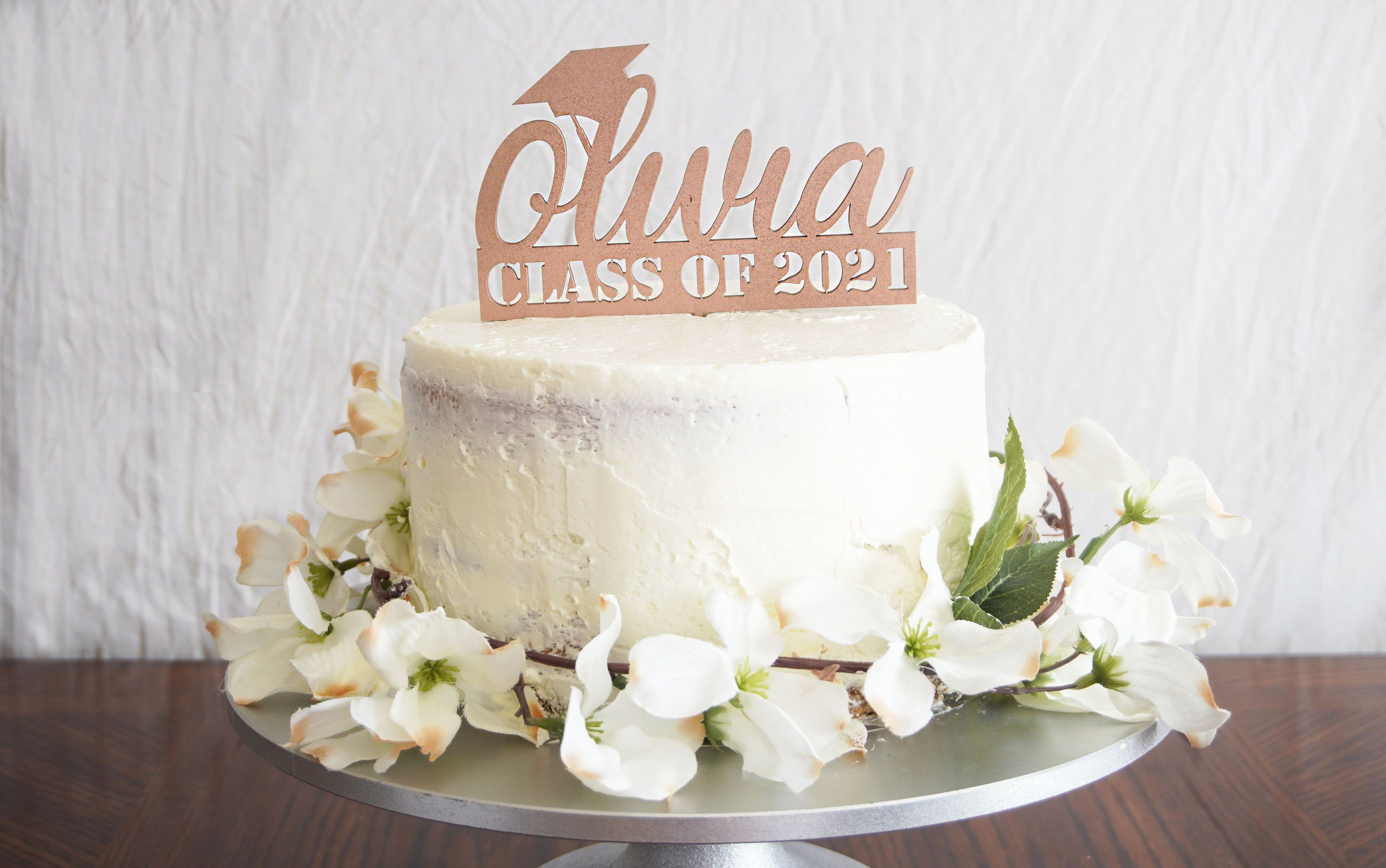 Photo of Personalized Graduation Cake Topper | Custom Congrats Class of 2021 Gift | Prom & Graduation Celebration Décor – 5 W. 1/8 Thick / Pink Glitter Shimmer / Wood