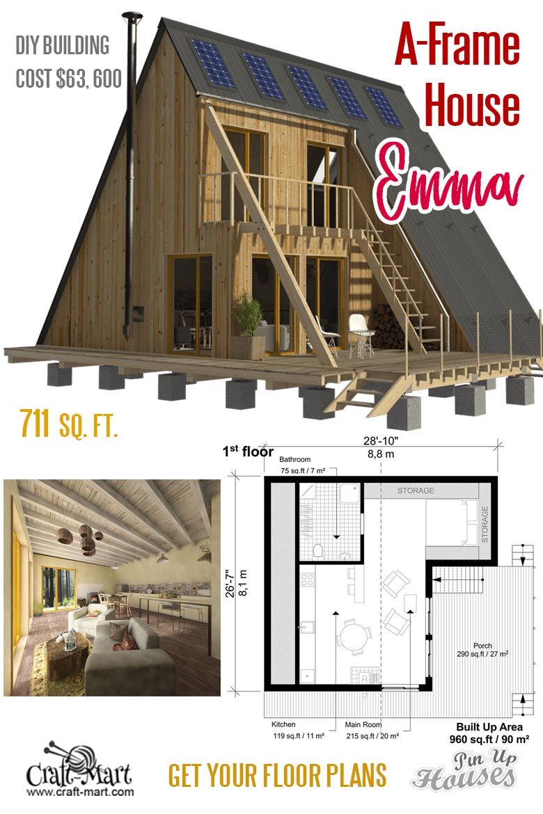 Small unique house plans (A-frames, small cabins, sheds) - Craft-Mart |  Unique small house plans, Small house plans, A frame house plans