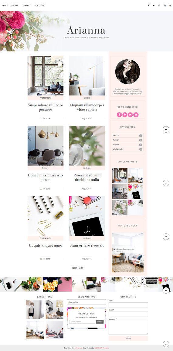 Premade Blogger plantilla sensible tema estilo de vida moda belleza ...