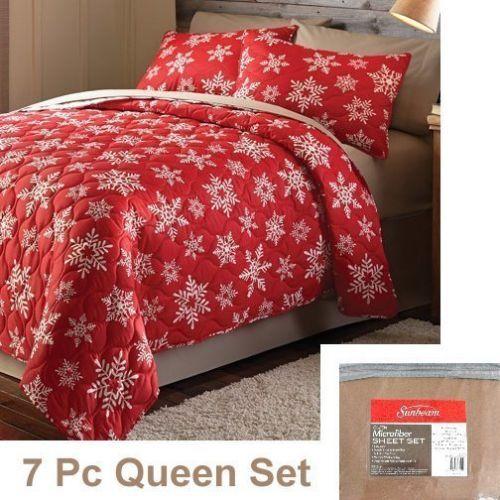 Mainstays HOLIDAY SNOWFLAKE QUILT SET + Sunbeam SHEETS ~ 7pcs ... : red snowflake quilt - Adamdwight.com