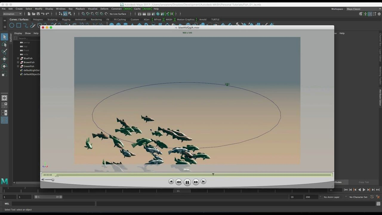 How to use the Flight node in MASH to create a basic school of fish.  Created using Maya 2017. MASH is now an Autodesk product and started shipping with Maya…