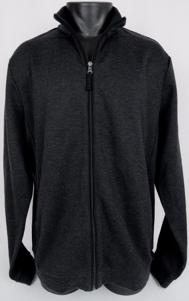 HUGO BOSS BLACK XXL Men's Full Zip Cardigan Slim Fit Sweater Charcoal Gray  Turin #HUGOBOSS
