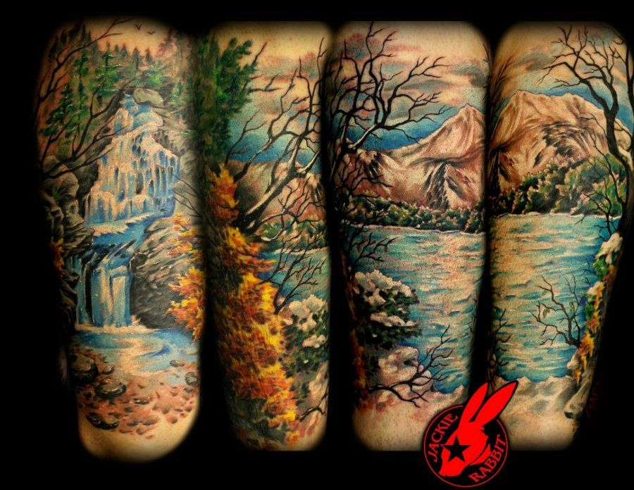Landscape Waterfall Tattoo Mural Ideas Pinterest