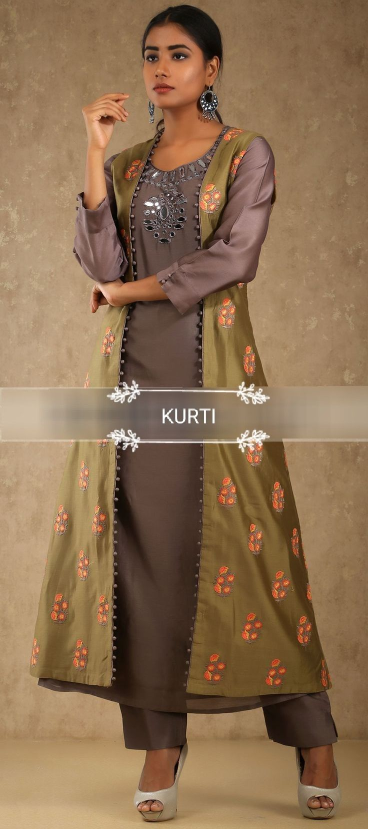 Muslin kurti with embroidered long jacket dresses pinterest