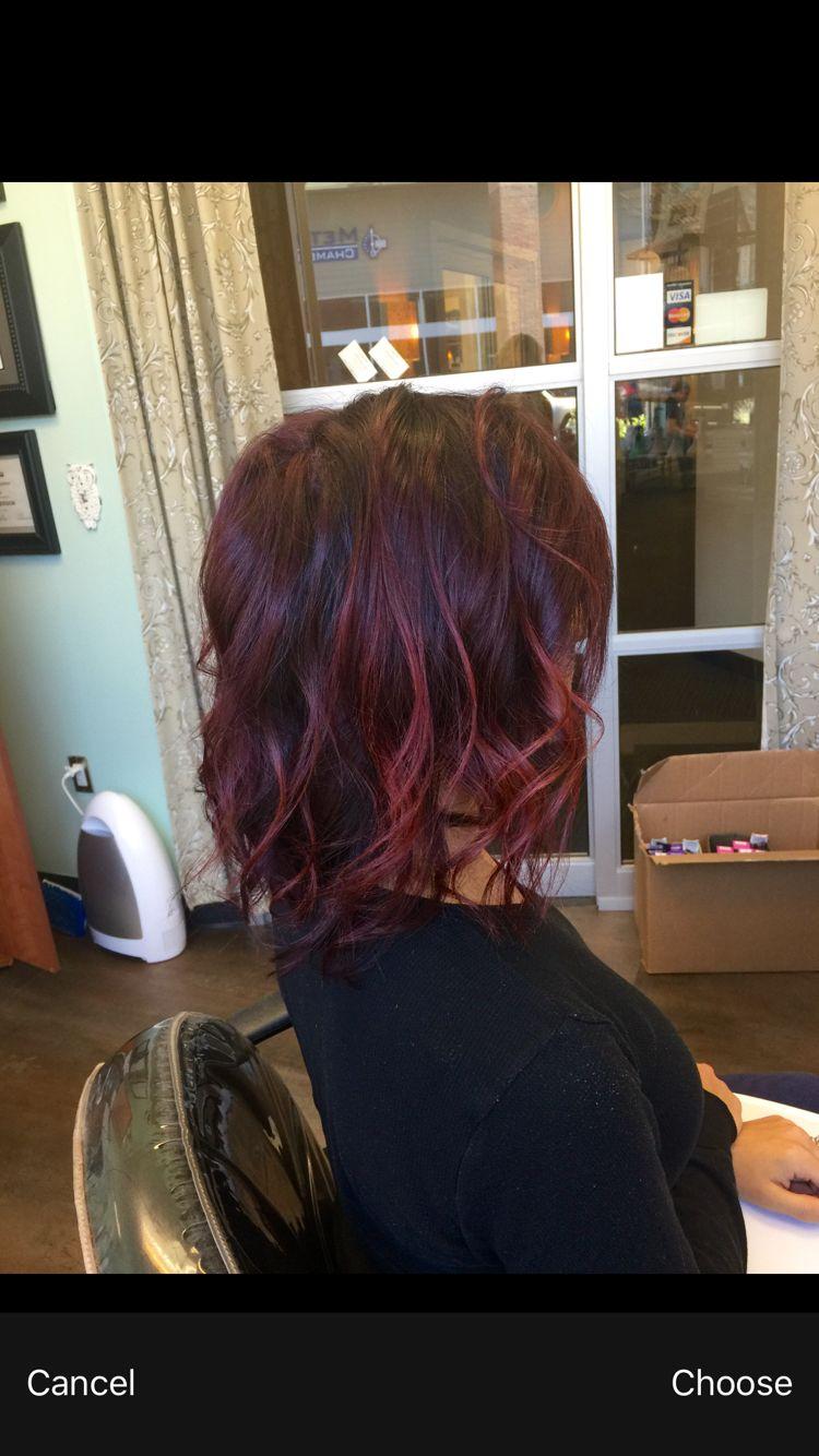 Short red violet balayage hair