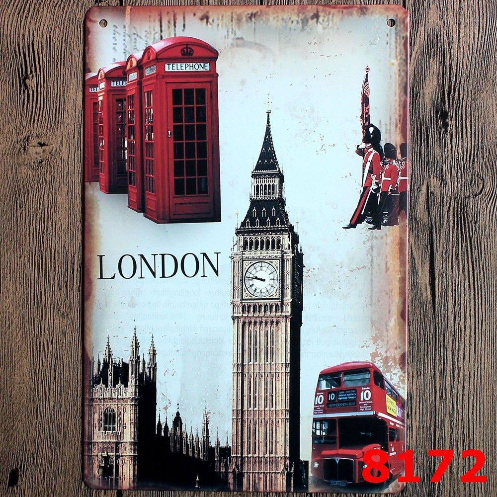 LONDON BIG BEN Tin Painting Vintage Tin Signs Painting Home Decor ...