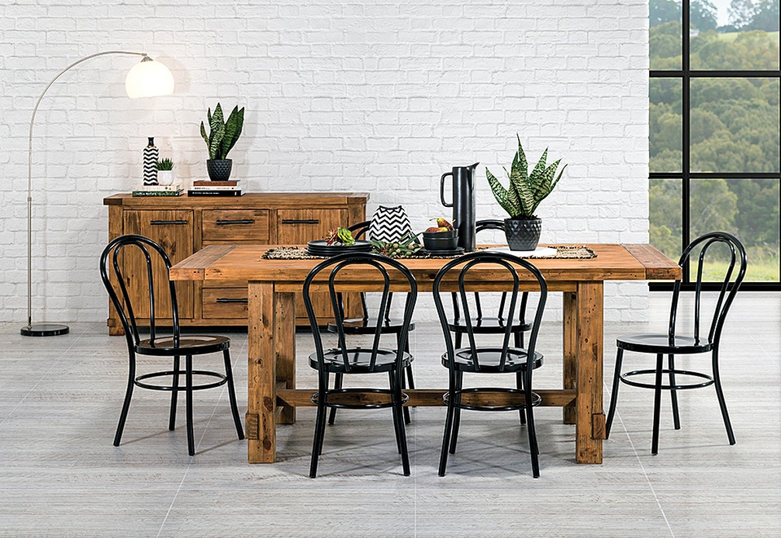 Industrial 7 Piece Dining Suite With Bentwood Replica Dining Chairs Amart Furniture Dining Suites Farm Table With Bench Dining
