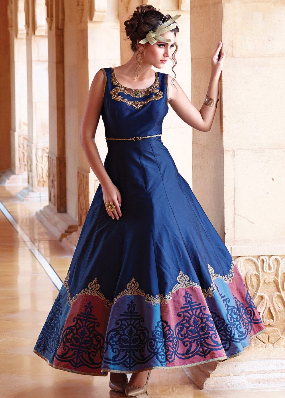 4ed07c531c Fashionable Digital Print Bhagalpuri Long Gown for Party in 2019 ...