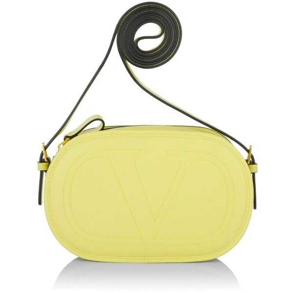 Valentino  V Iconic Crossbody OS Pale Yellow  Bag ($1,350) ❤ liked on Polyvore featuring bags, handbags, shoulder bags, yellow, purse crossbody, leather hand bags, crossbody shoulder bags, leather crossbody and leather man bag