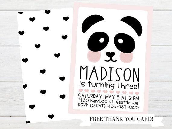 Pink Cheeks Panda Bear Birthday Invitation