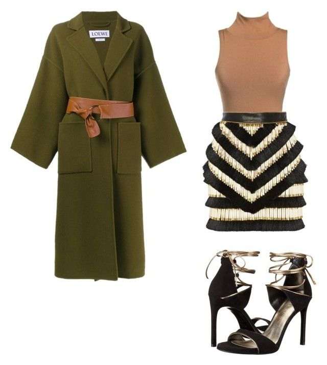 """Army green feel good"" by staciapandalover on Polyvore featuring Balmain, Loewe and Stuart Weitzman"