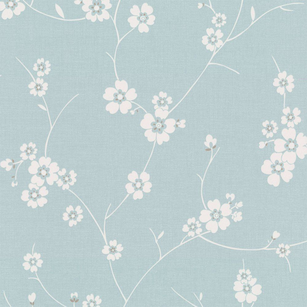 Graham & Brown Blossom Wallpaper Duck Egg Blue / white
