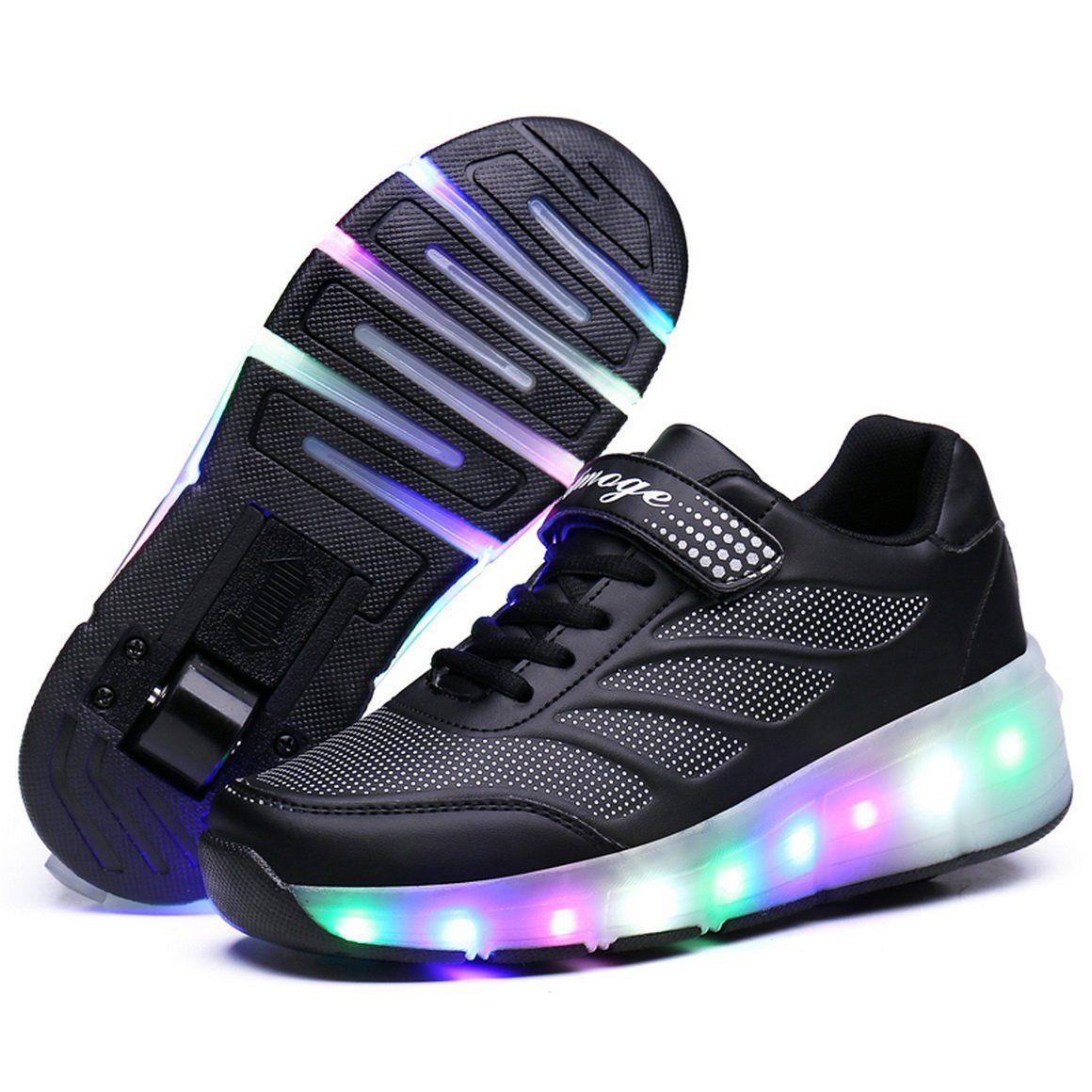 quality design 603d8 ddbc0 FOUPLER Girls Boys LED Light Single Wheel Roller Shoes Kids ...
