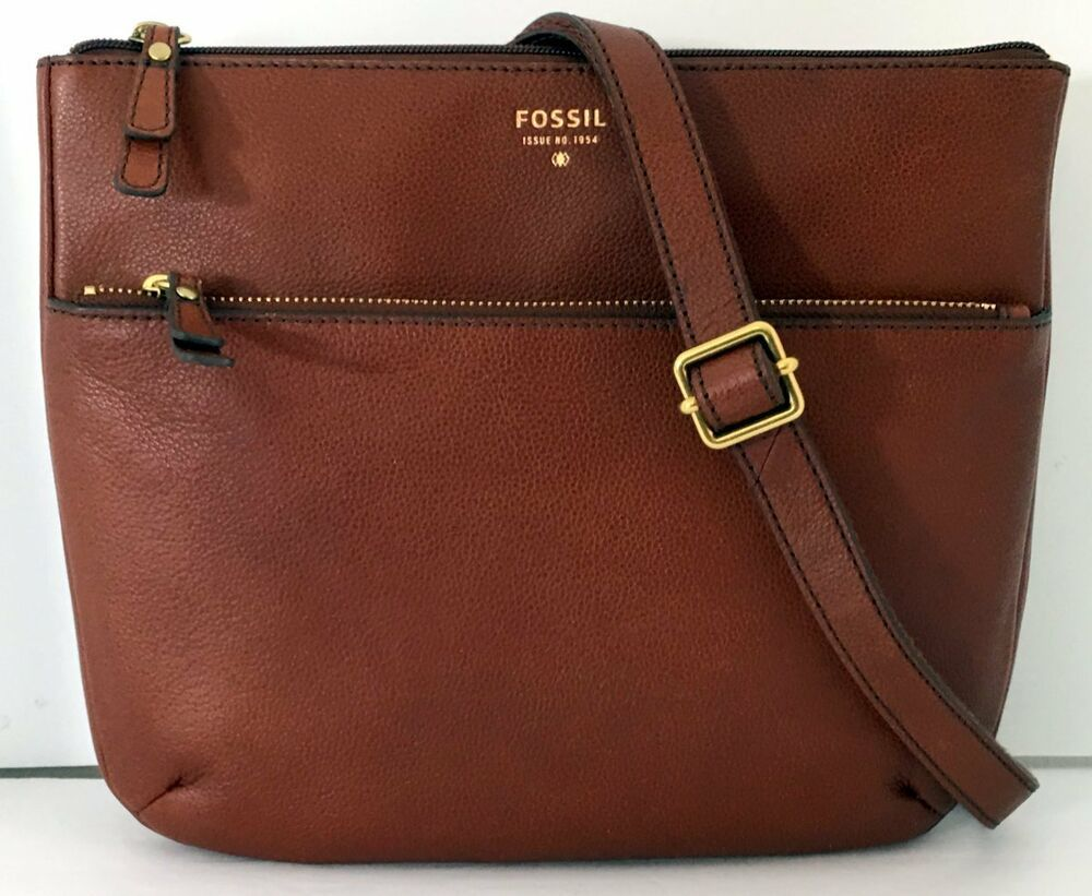 FOSSIL Tinsley Crossbody Shoulder Bag Brown Genuine Pebbled Leather Top Zip  NEW  Fossil  Crossbody c6b1f5d2a56ee