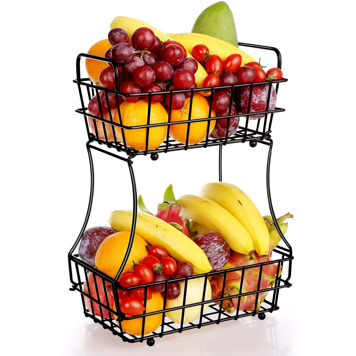 Tomcare 2 Tier Fruit Basket Metal Fruit Bowl Bread Baskets Detachable Fruit Holder Kitchen Storage Baskets St Tiered Fruit Basket Fruit Holder Vegetable Snacks
