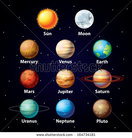 Glossy Planets Colorful Vector Set On Dark Sky Background Solar System For Kids Planet For Kids Planet Project