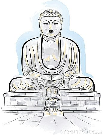 Drawing Color Giant Buddha Monument In Kamakura Buddha Drawing
