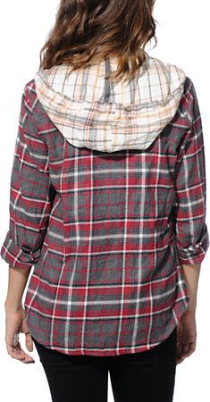 68816efd Empyre Cambridge Red Hooded Flannel Shirt   Outfits/Accessories ...