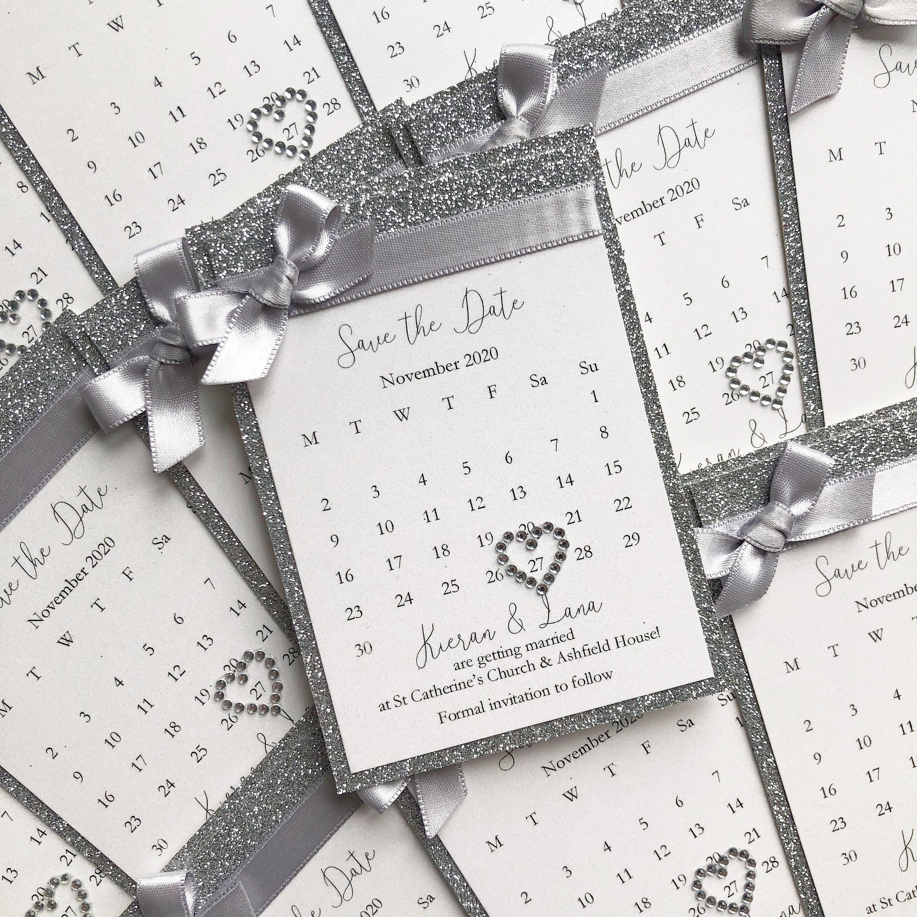 Mini Bow Save the Date Silver save the dates, Silver