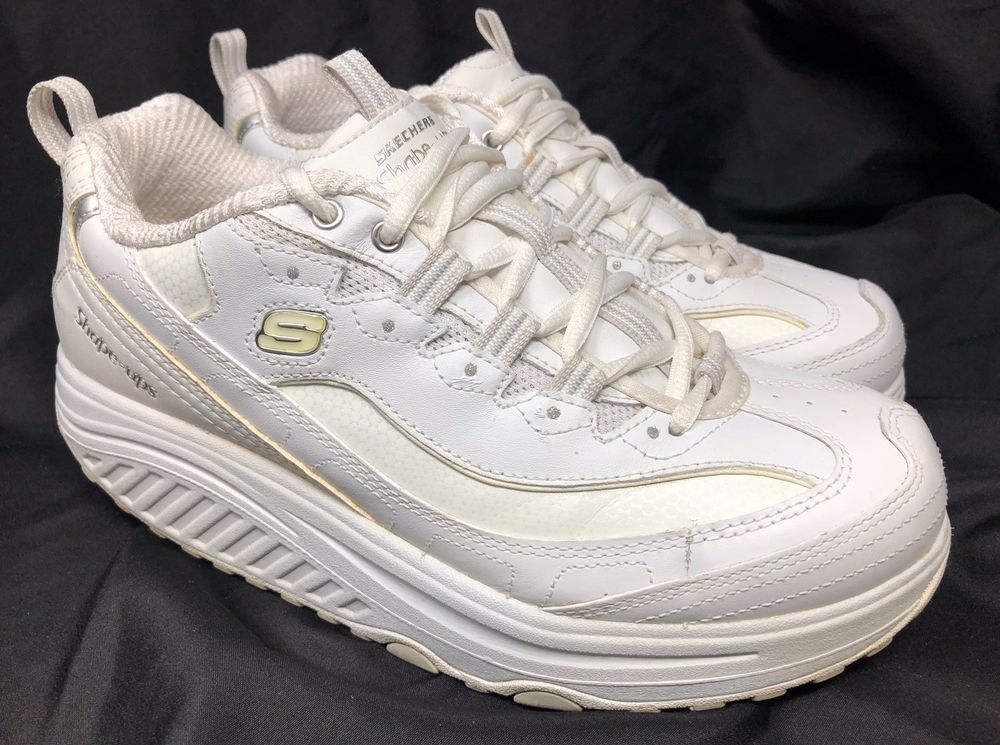 8b139788eebd SKETCHERS WOMEN S SHAPE UPS WHITE SILVER 11800 WALKING TONING SNEAKERS SIZE  8.5  Sketchers  Platform