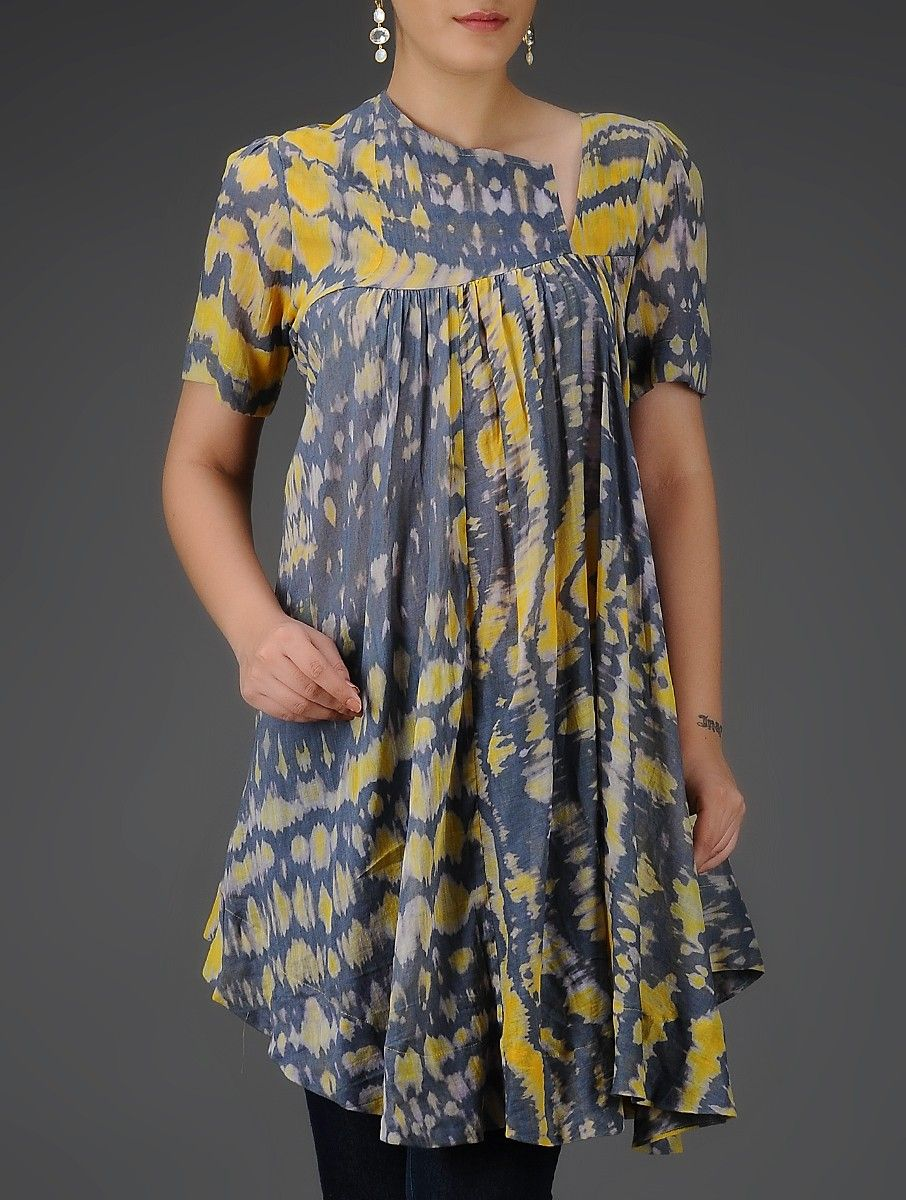Buy Grey-Yellow Tie and Dye Pleated Asymmetrical Cotton Mul Tunic Online at  Jaypore.com 24952cf54d