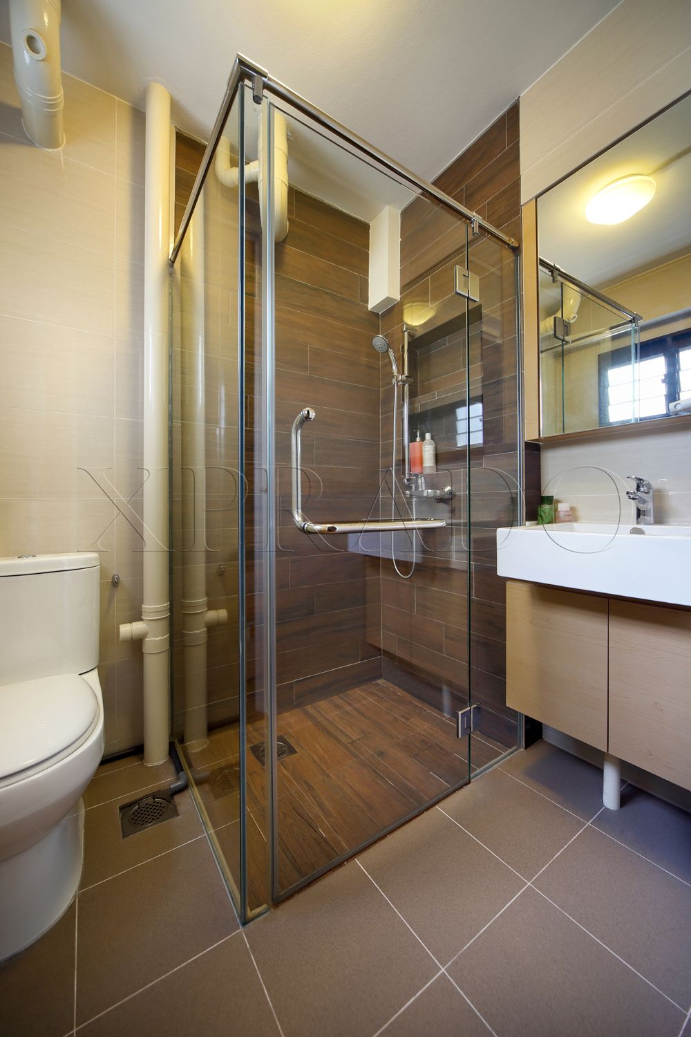 A Bathroom And A Toilet In An Average Hdb Flat Interior Design Toilet Small Space Bathroom Toilet Design