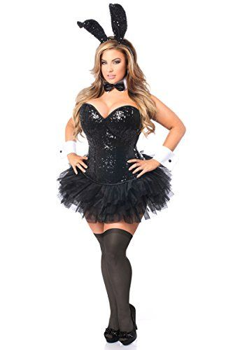 Daisy Corsets Women's Plus-Size Top Drawer 5 Piece Sequin Bunny Corset Costume