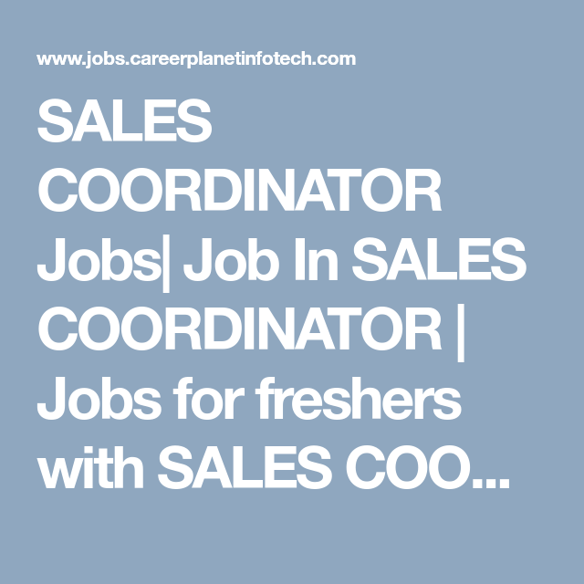 Sales Coordinator Jobs Job In Sales Coordinator  Jobs For