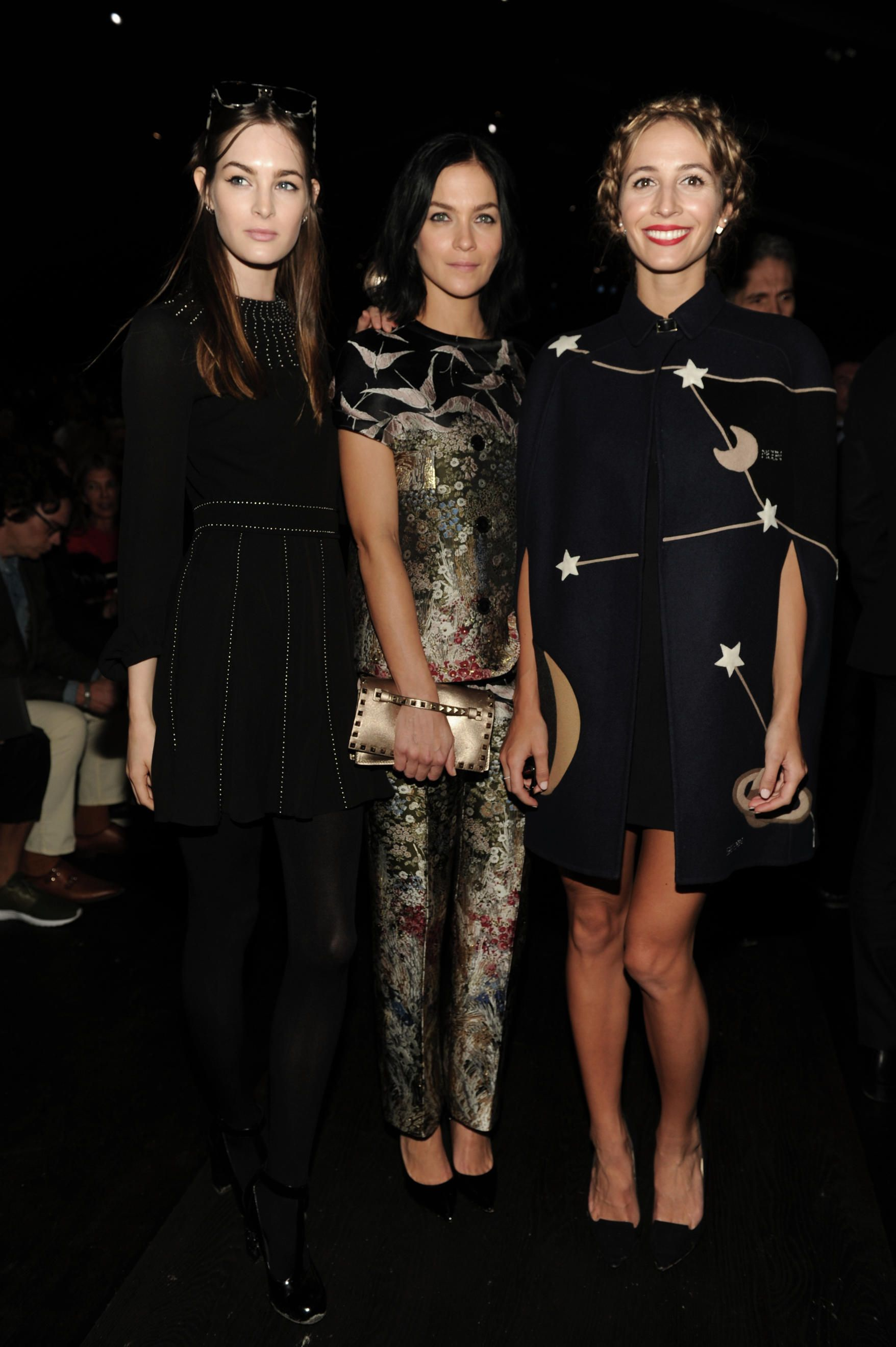 Laura Love, Leigh Lezark and Harley Viera-Newton in Valentino to the Woemn's Spring/Summer 2016 fashion show on October 6th, 2015.
