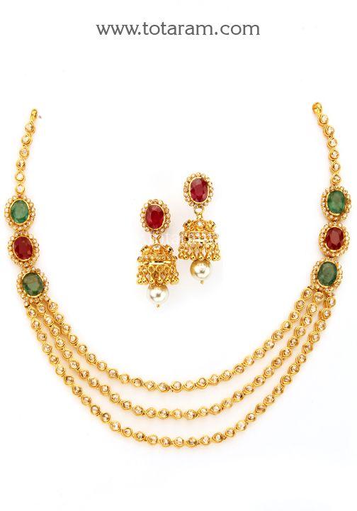 22K Gold Necklace & Ear Hangings Set with Uncut Diamonds ...