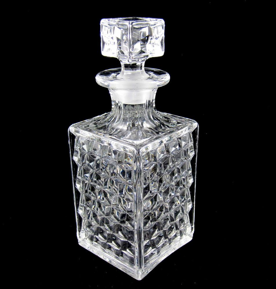 Liquor decanter collectible bar set silver stand liquor for How to smooth cut glass bottles