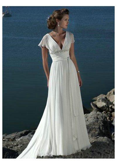 V Neck Short Sleeves Beading Chapel Train Chiffon Beach Wedding