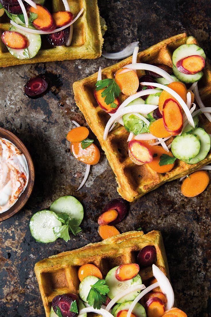 Falafel waffles with armenian cucumber slaw recipe